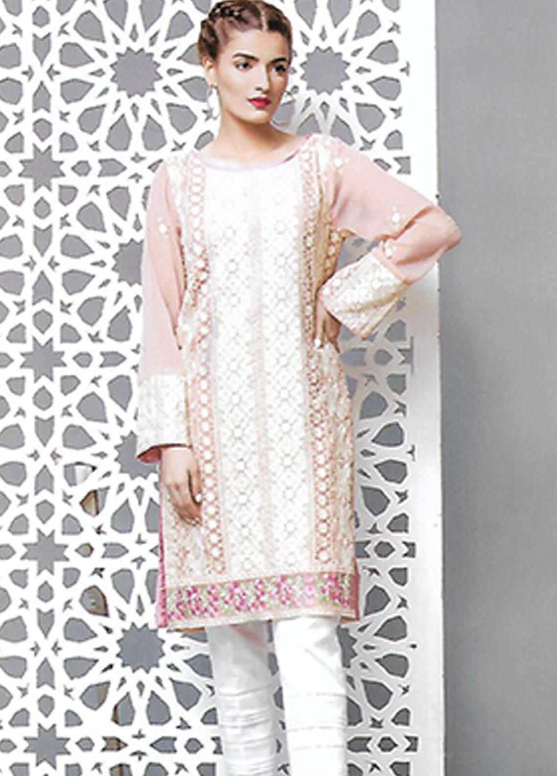 Sahil By ZS Textiles Embroidered Chiffon Unstitched Kurties SE18KC 06 - Mid Summer Collection