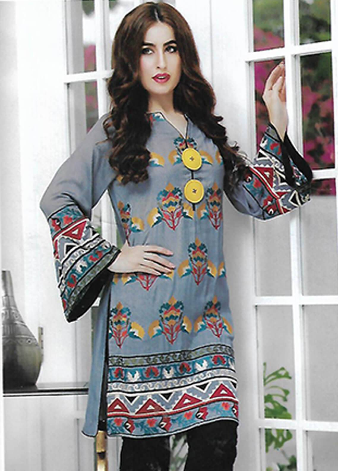 Sahil By ZS Textiles Embroidered Chiffon Unstitched Kurties SE18KC 09 - Mid Summer Collection