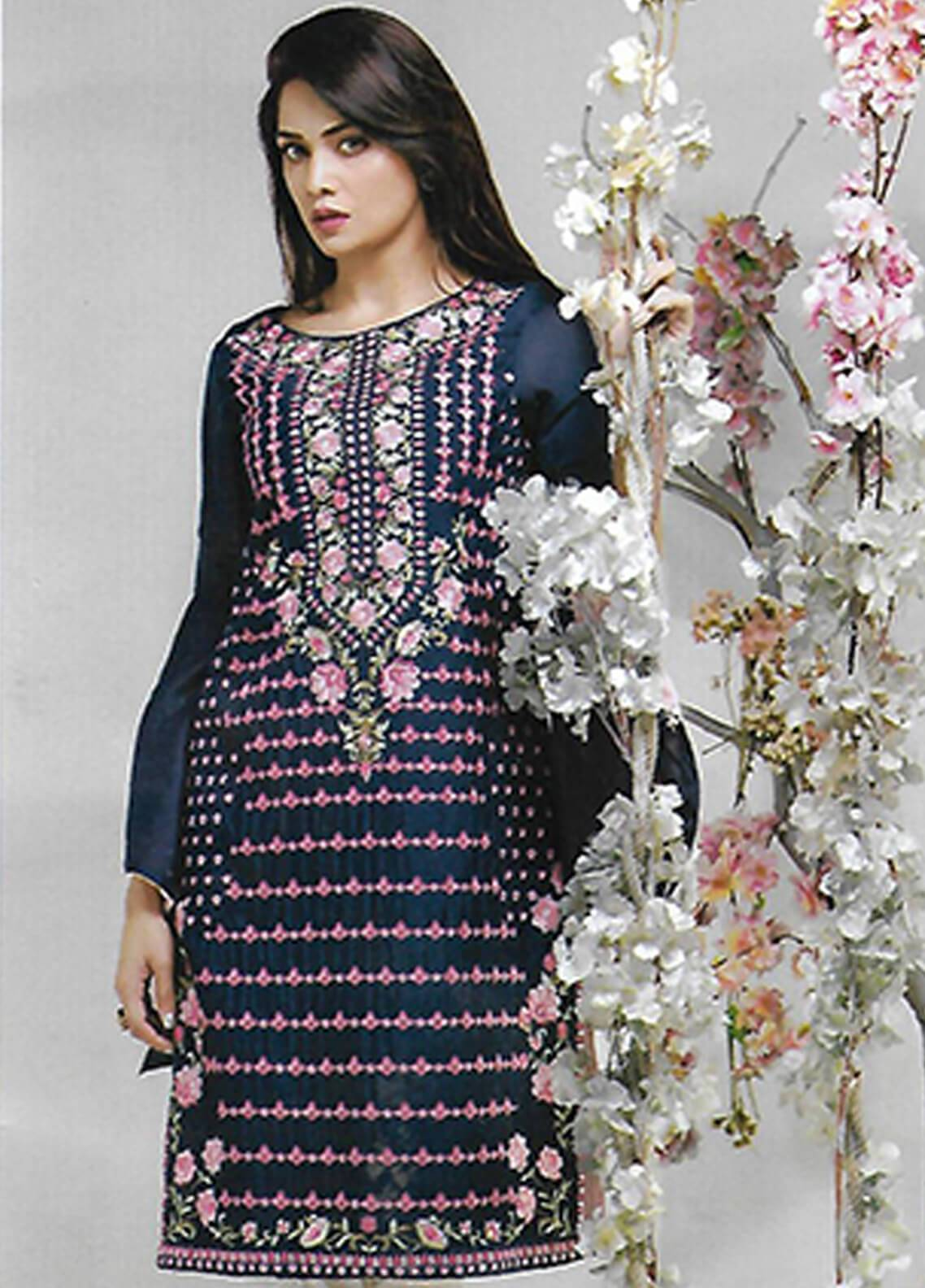 Sahil By ZS Textiles Embroidered Chiffon Unstitched Kurties SE18KC 10 - Mid Summer Collection