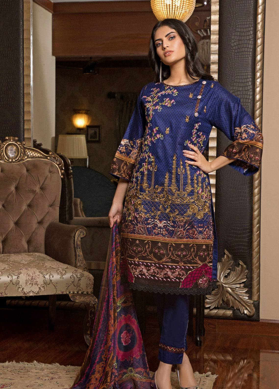 Sahil By ZS Textiles Embroidered Lawn Unstitched 3 Piece Suit SL19L 3A - Spring / Summer Collection