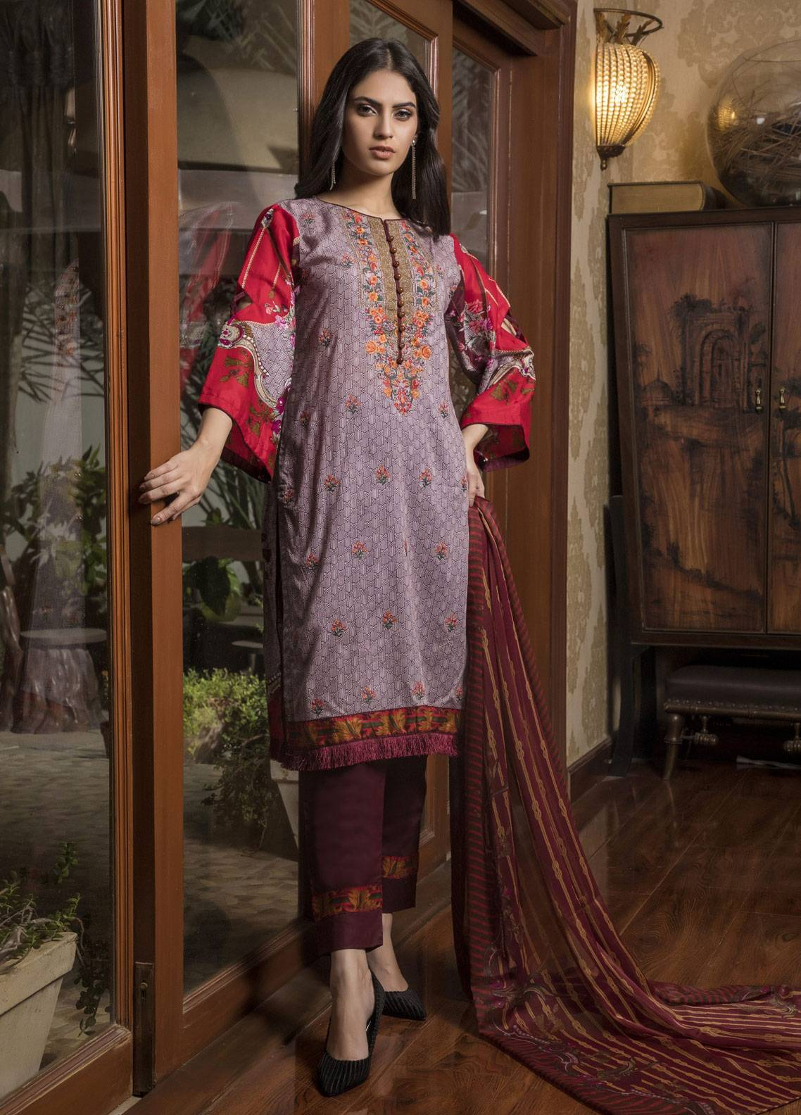 Sahil By ZS Textiles Embroidered Lawn Unstitched 3 Piece Suit SL19L 5A - Spring / Summer Collection