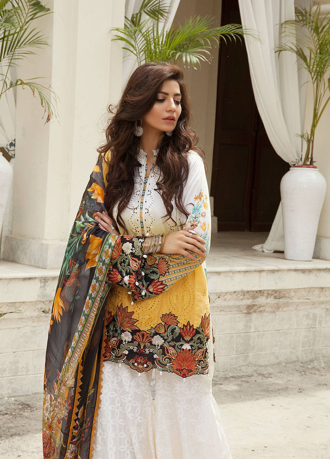 Saira Rizwan Embroidered Lawn Unstitched 3 Piece Suit SR19E 04 RABAB - Eid Collection