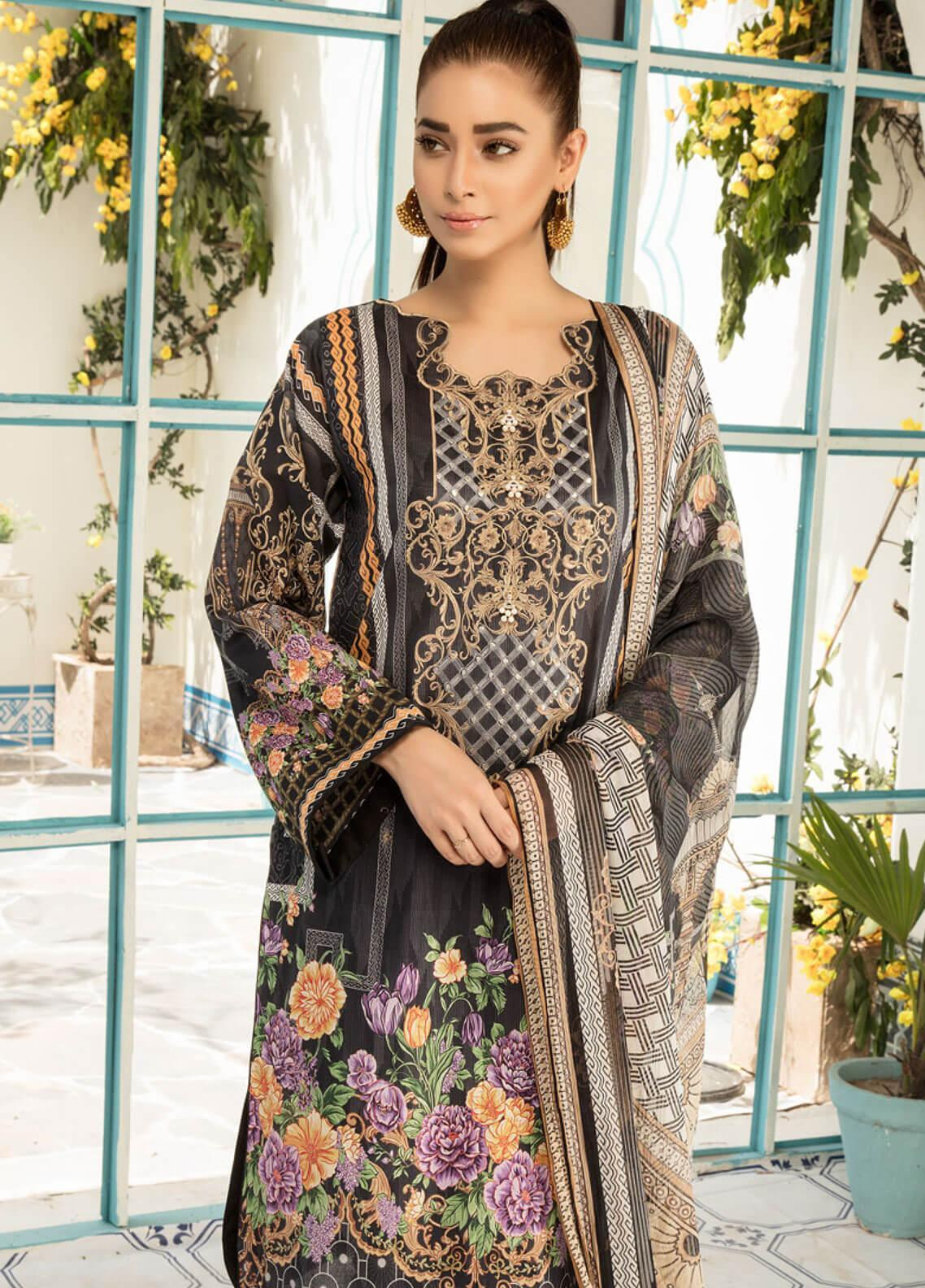 d63390bcad Sanoor by Noor Fatima Embroidered Lawn Unstitched 3 Piece Suit SNO19F 135 - Festive  Collection