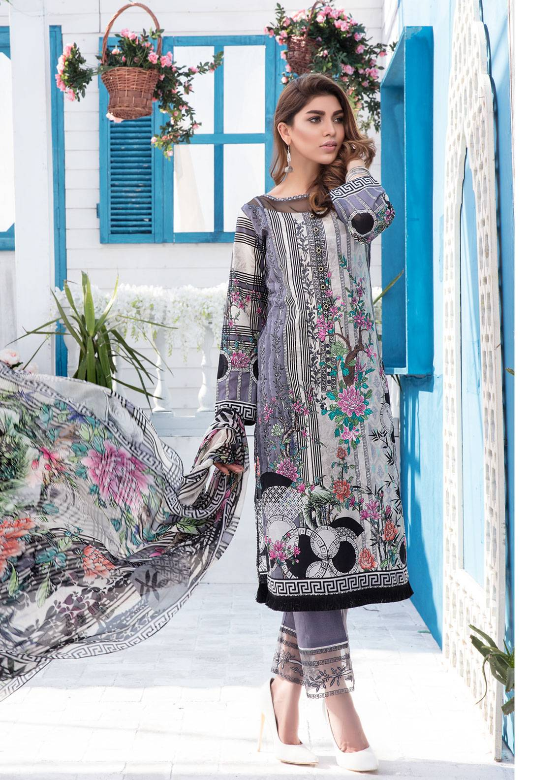 9464b8e75e Sanoor by Noor Fatima Embroidered Lawn Unstitched 3 Piece Suit SNO19-L1 119  - Spring