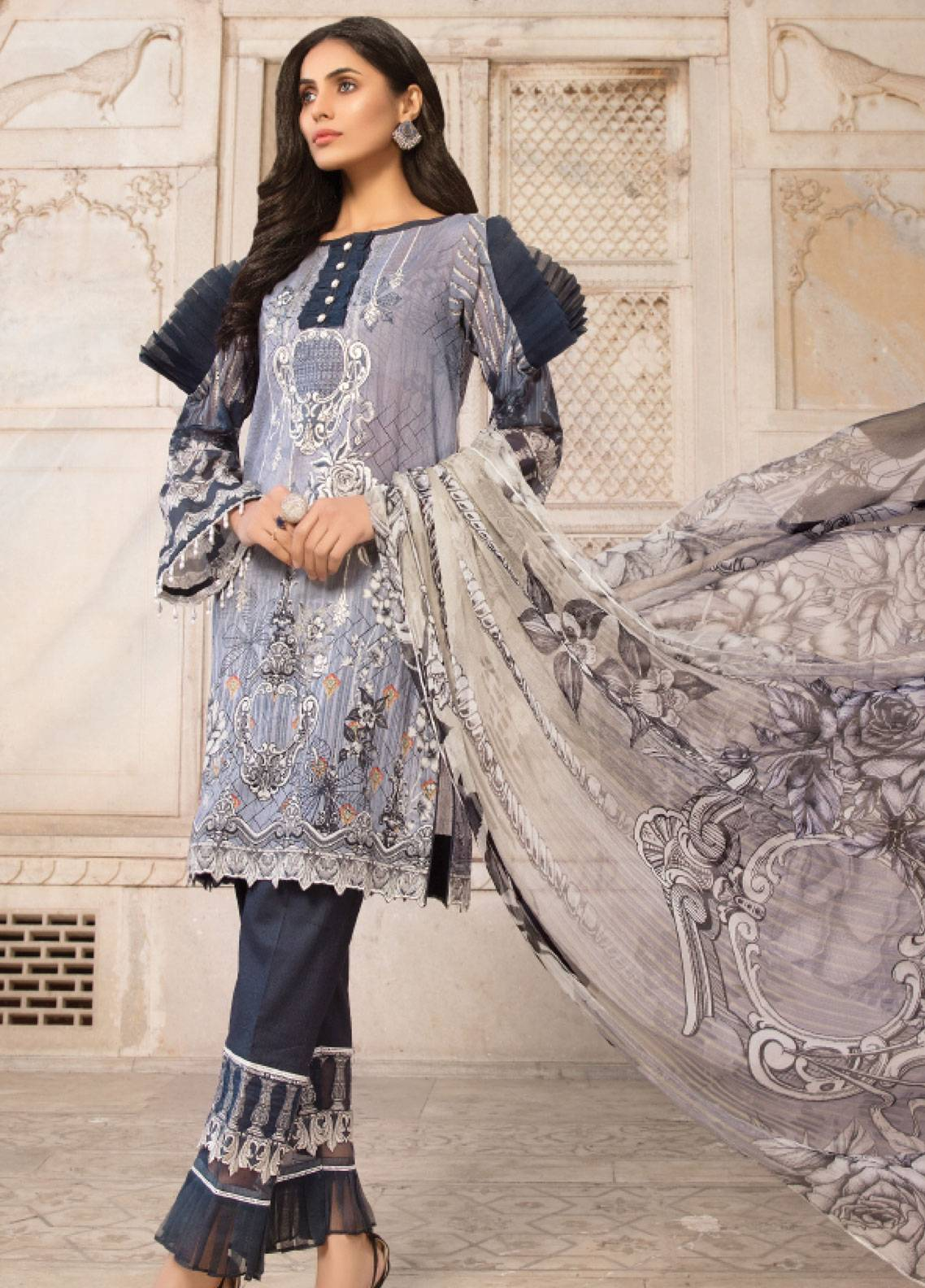 Sanoor by Noor Fatima Embroidered Swiss Voile Unstitched 3 Piece Suit SNF19SC 101 - Summer Collection