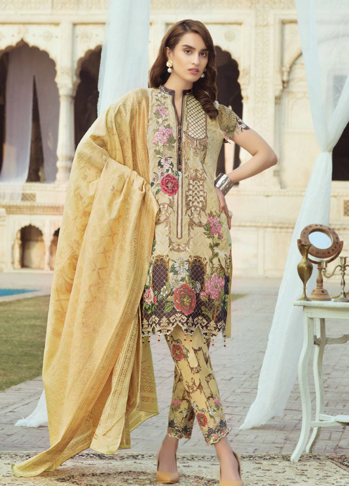 Sanoor by Noor Fatima Embroidered Swiss Voile Unstitched 3 Piece Suit SNF19SC 105 - Summer Collection