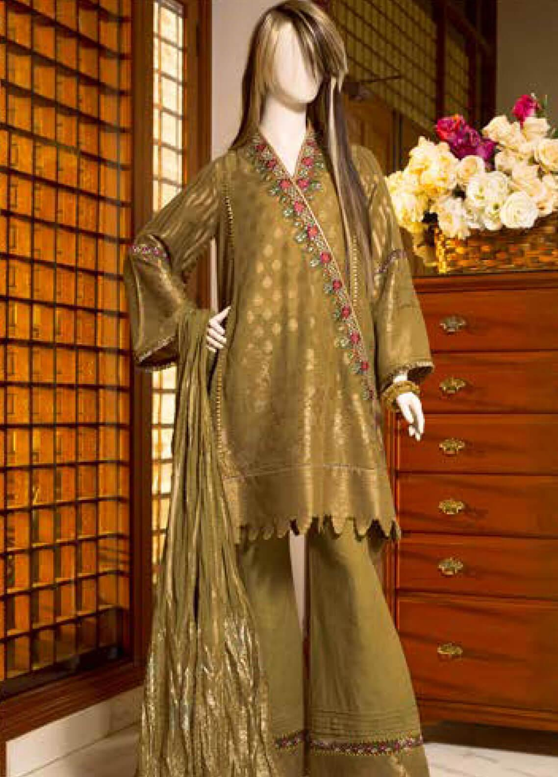 Saya Embroidered Jacquard Unstitched 3 Piece Suit SY19E 5A - Festive Collection