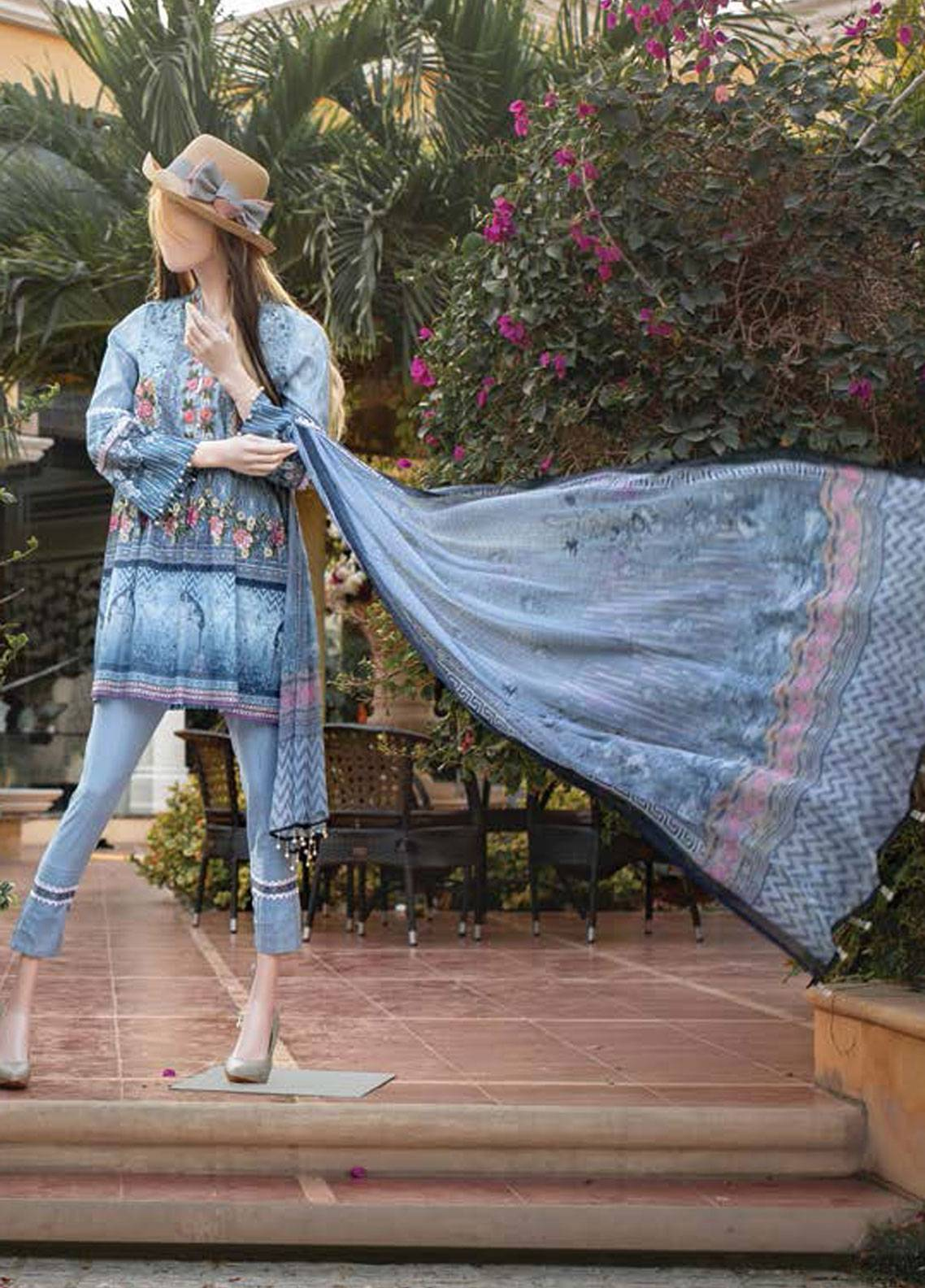 Saya Embroidered Lawn Unstitched 3 Piece Suit SY19-L2 3A - Spring / Summer Collection