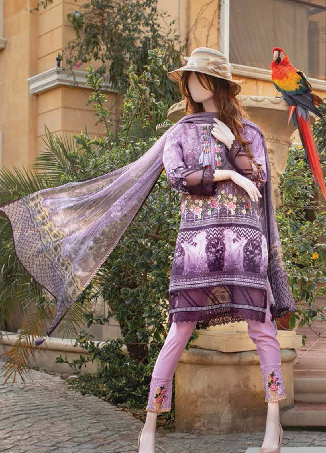 Saya Embroidered Lawn Unstitched 3 Piece Suit SY19-L2 3C - Spring / Summer Collection