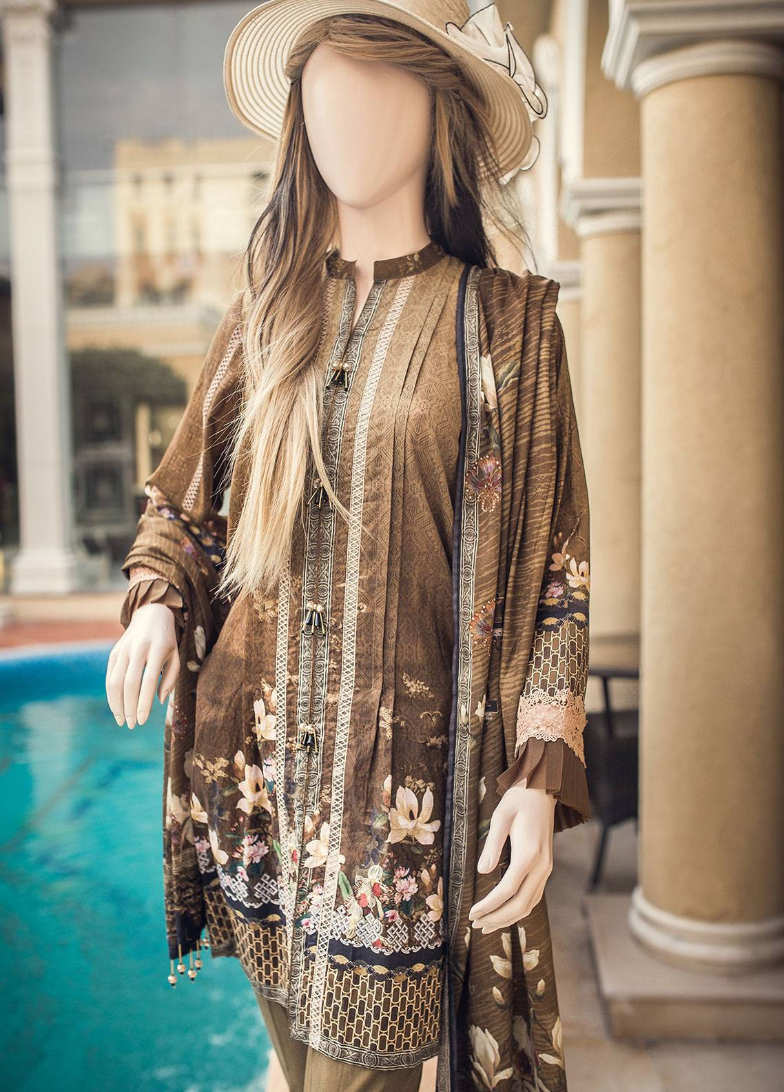 Saya Printed Lawn Unstitched 3 Piece Suit 08C GARDENIA - Spring / Summer Collection