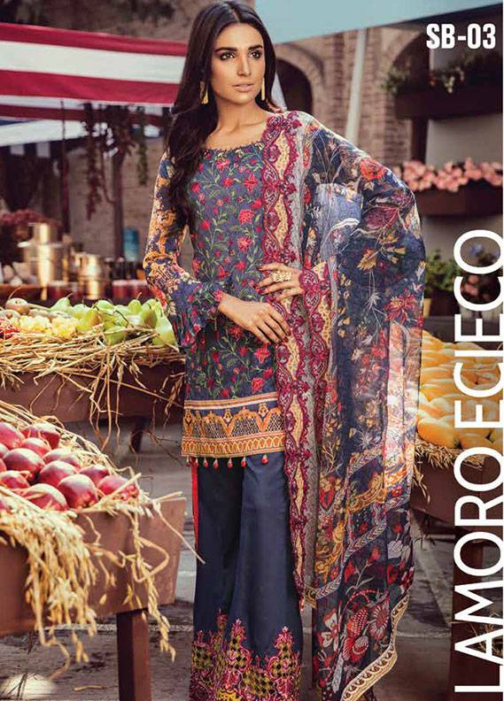 Bashir Ahmed Embroidered Lawn Unstitched 3 Piece Suit SB18L 03 - Spring / Summer Collection