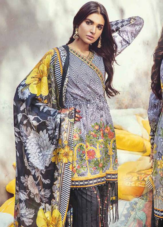 Bashir Ahmed Embroidered Lawn Unstitched 3 Piece Suit SB18L 04 - Spring / Summer Collection
