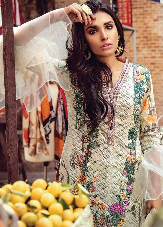 Bashir Ahmed Embroidered Lawn Unstitched 3 Piece Suit SB18L 06 - Spring / Summer Collection