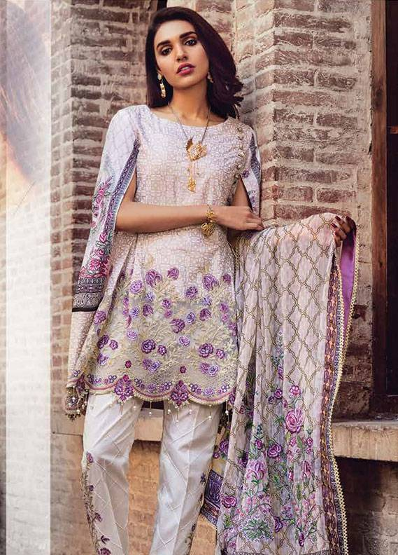 Bashir Ahmed Embroidered Lawn Unstitched 3 Piece Suit SB18L 12 - Spring / Summer Collection