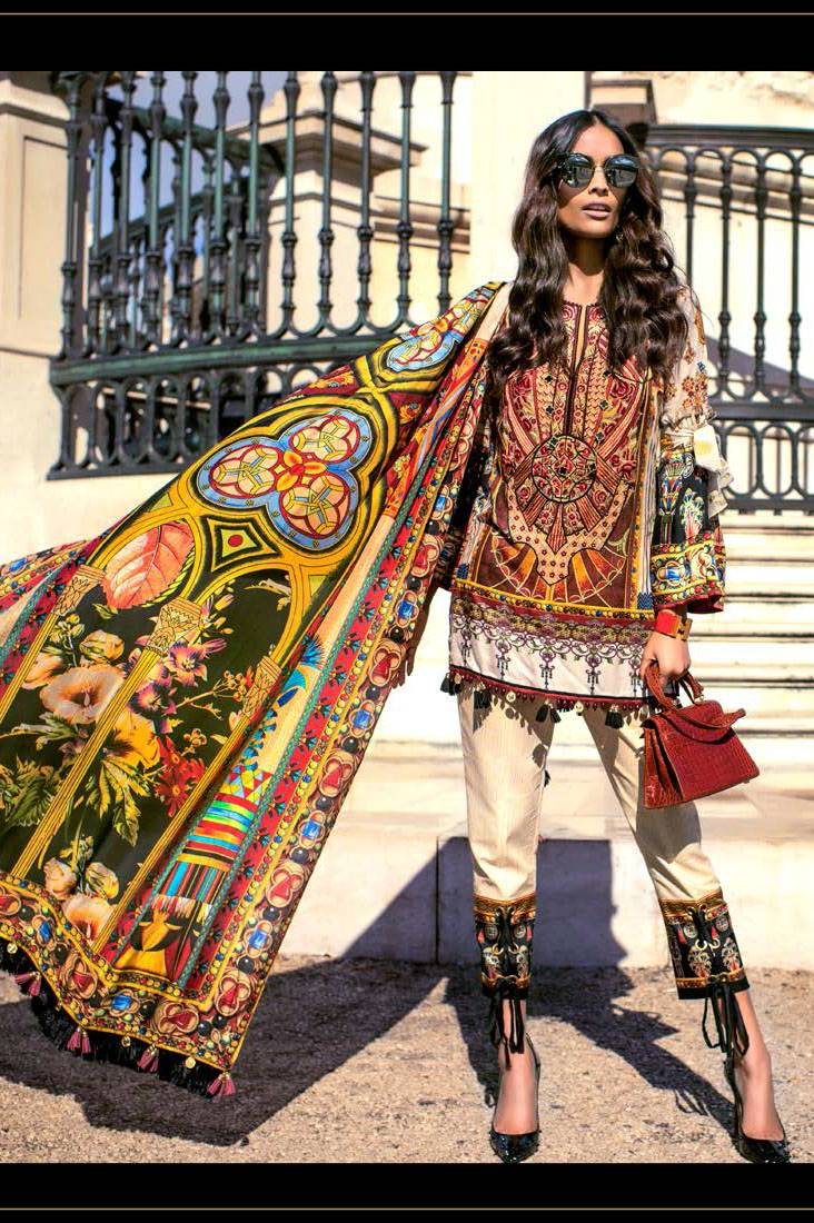 Shehla Chatoor Embroidered Lawn Unstitched 3 Piece Suit SC17L 10A
