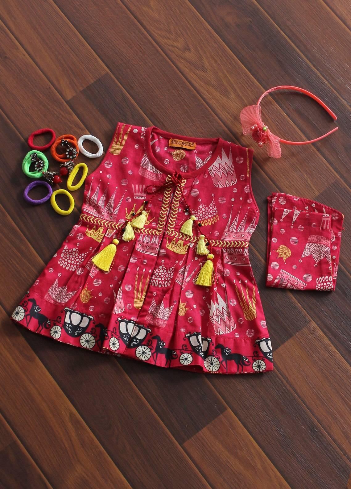 Senorita Cotton Fancy Kurtis for Girls - KAA- 01175 SPK