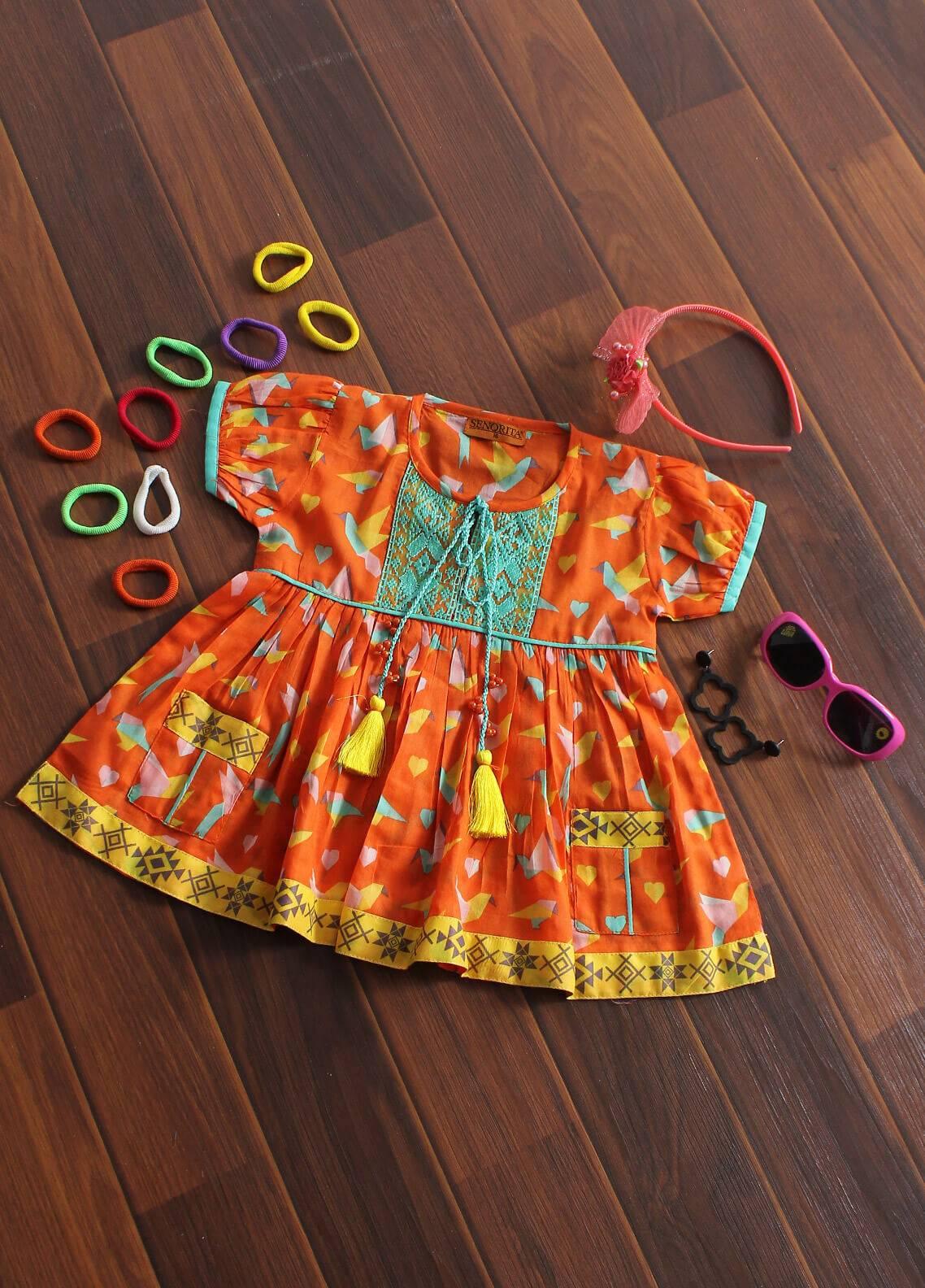 Senorita Cotton Fancy Kurtis for Girls - KAA 01189 OGN