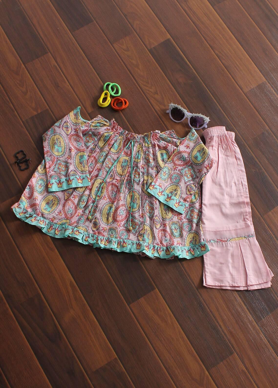 Senorita Cotton Fancy Girls 2 Piece Suit - KAC 01177 PNK
