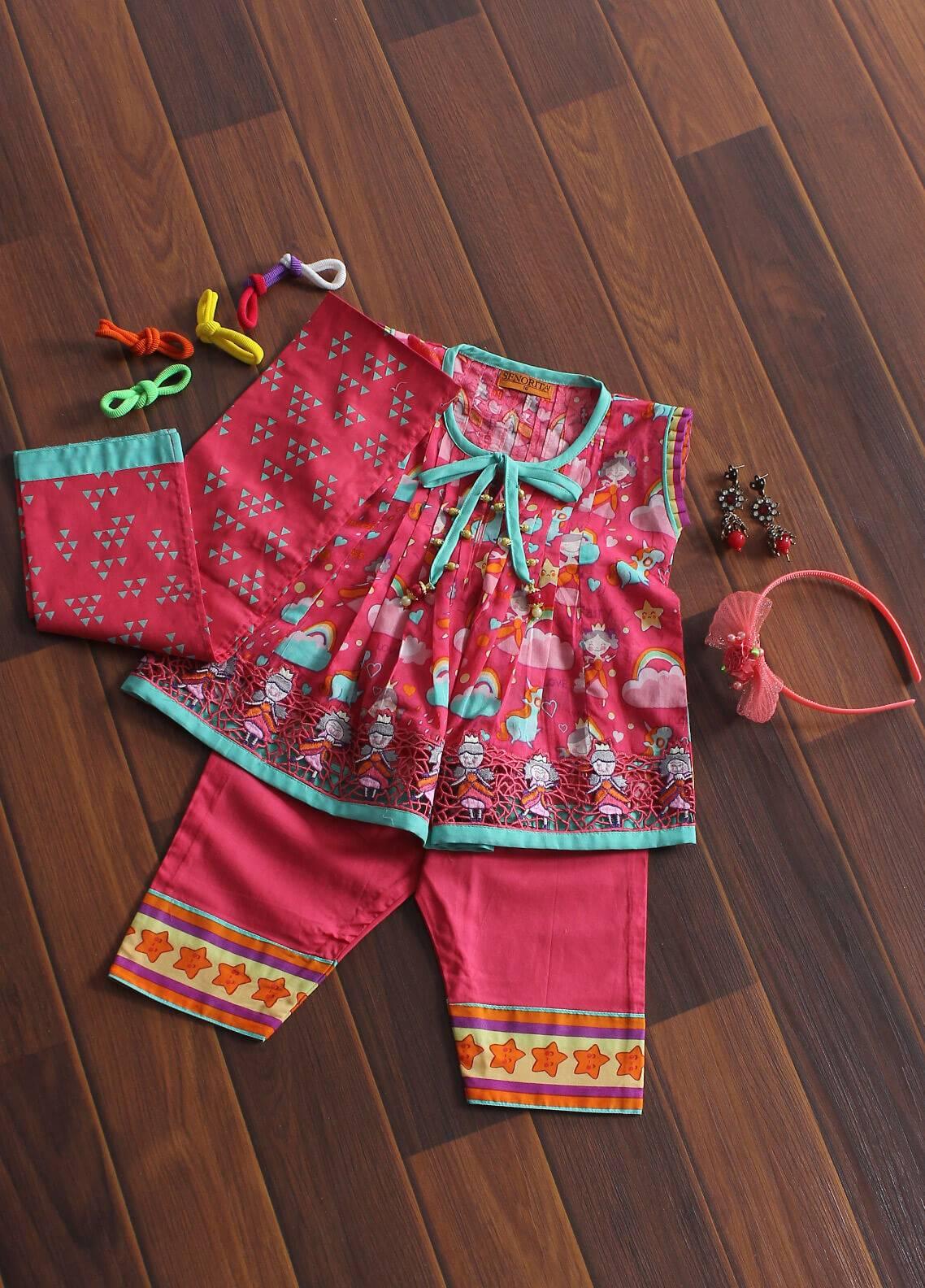 Senorita Cotton Fancy Girls 3 Piece Suit - KAD- 01179 SPK