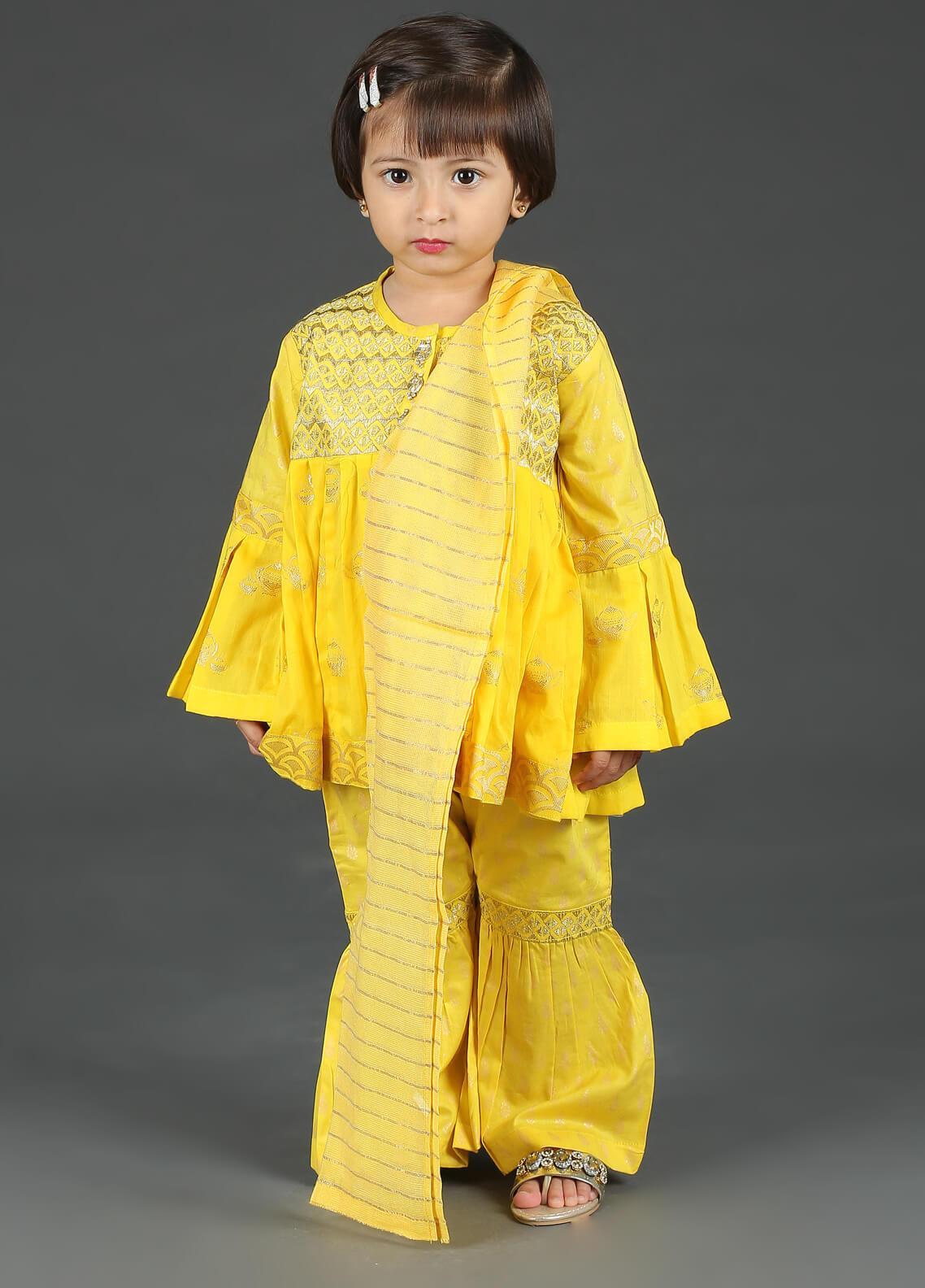Senorita Cotton Net Fancy Girls 3 Piece Suit -  KBD-01235 Yellow