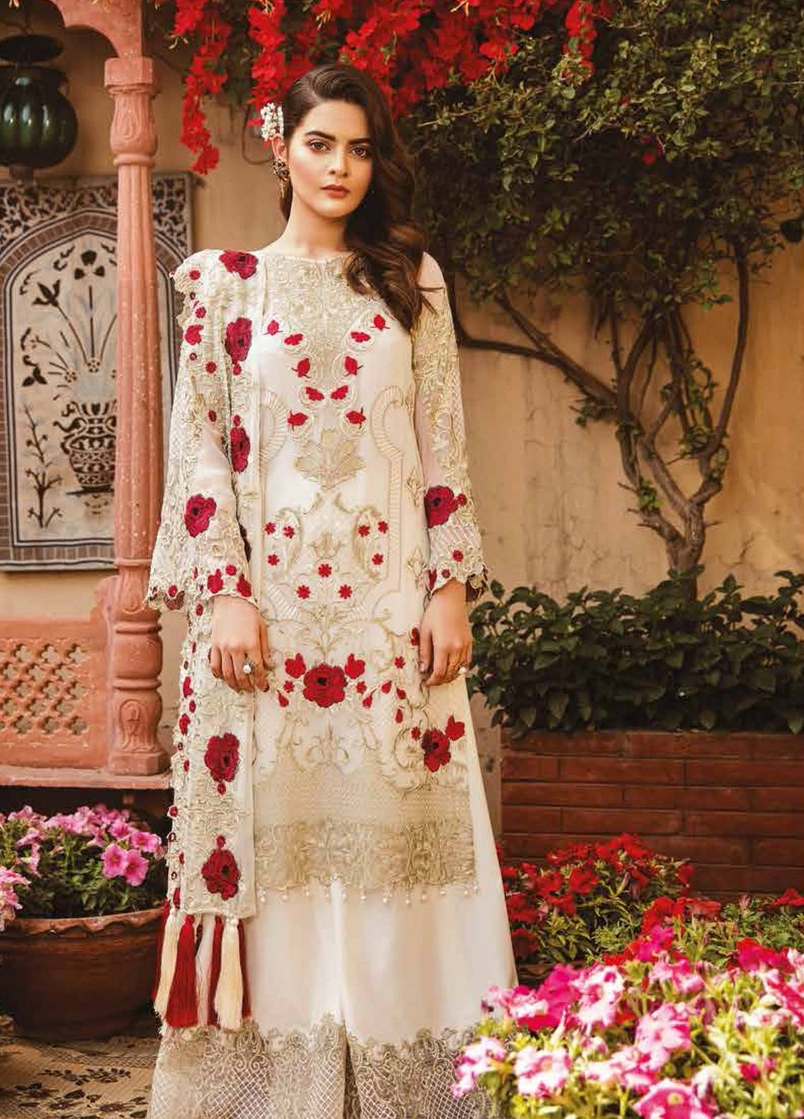 Imrozia by Serene Embroidered Chiffon Unstitched 3 Piece Suit SEI19E 701 THE MILKY ROSE - Luxury Collection