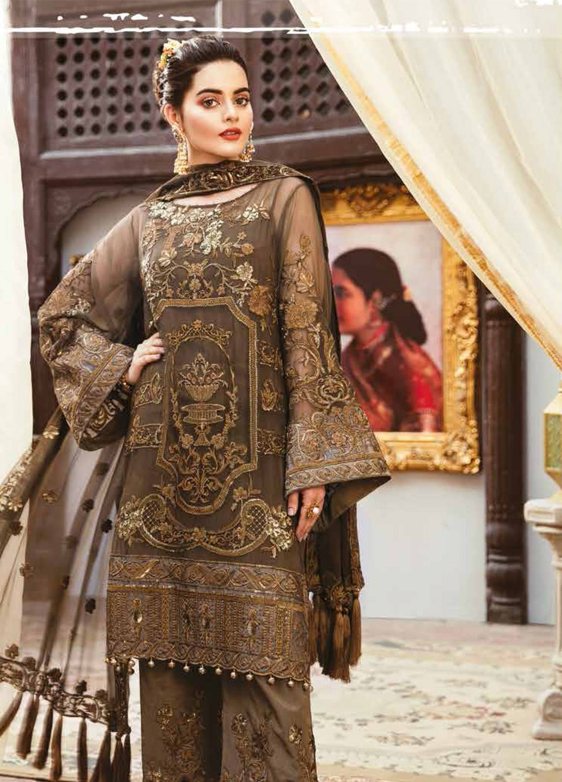 Imrozia by Serene Embroidered Chiffon Unstitched 3 Piece Suit SEI19E 702 THE AURUM ENTOURAGE - Luxury Collection