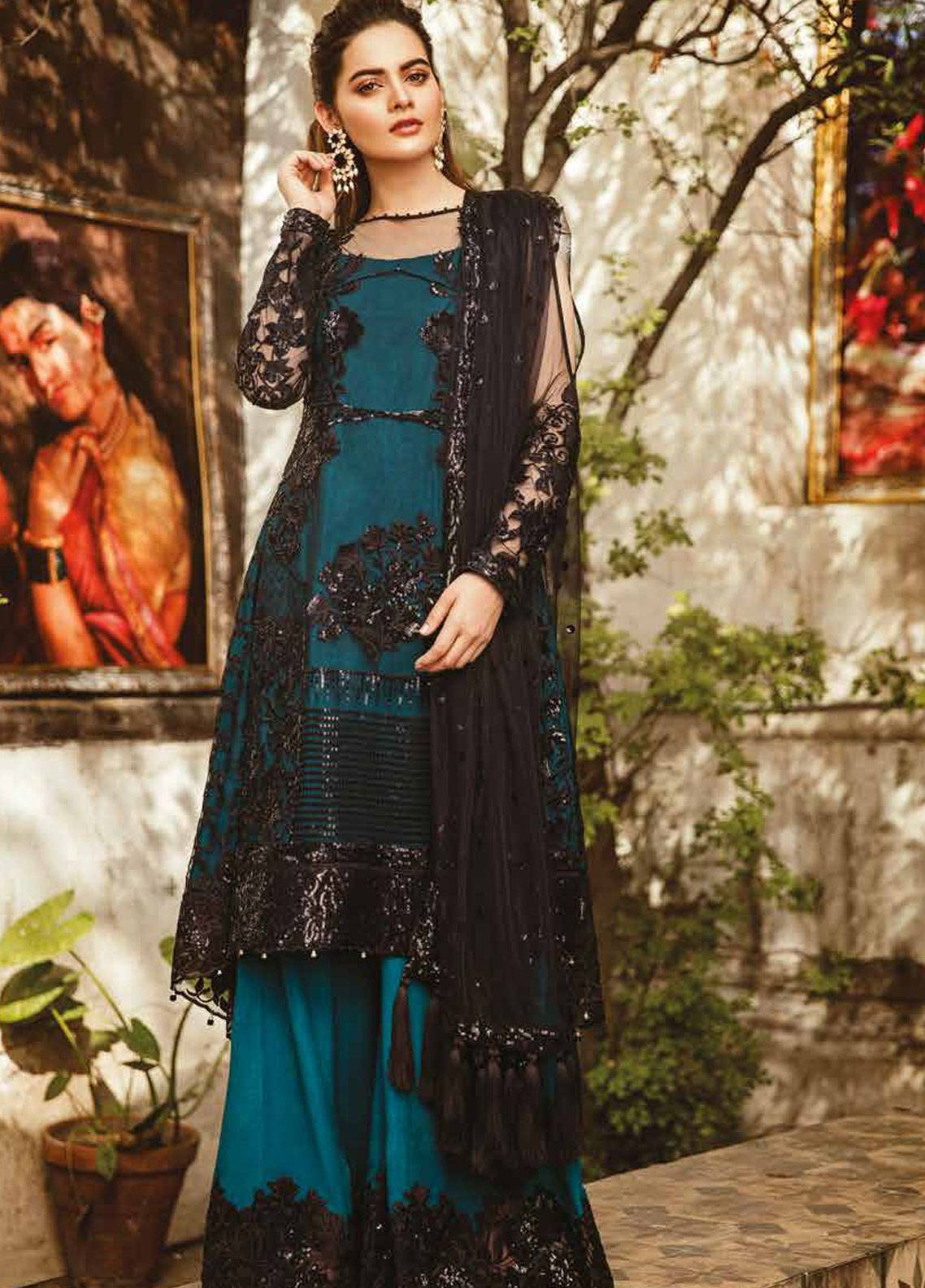 Imrozia by Serene Embroidered Zari Net Unstitched 3 Piece Suit SEI19E 704 THE TEAL MOONLIGHT - Luxury Collection