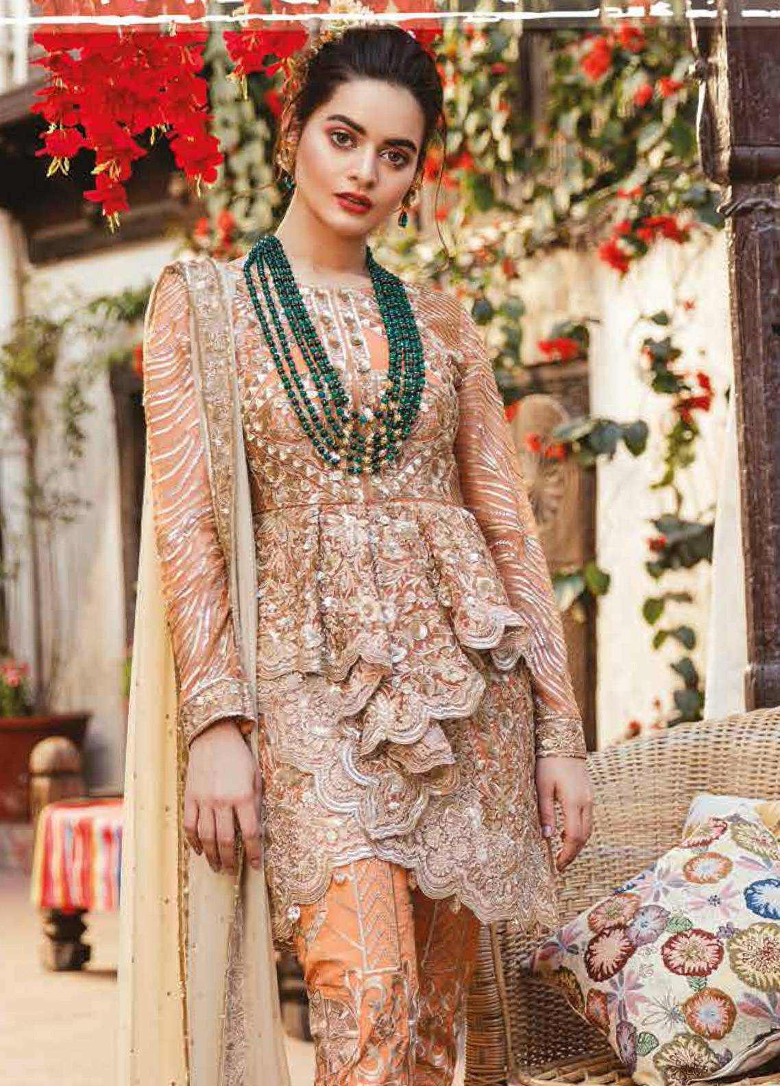 Imrozia by Serene Embroidered Chiffon Unstitched 3 Piece Suit SEI19E 705 THE SHIMMER TANGERINE - Luxury Collection