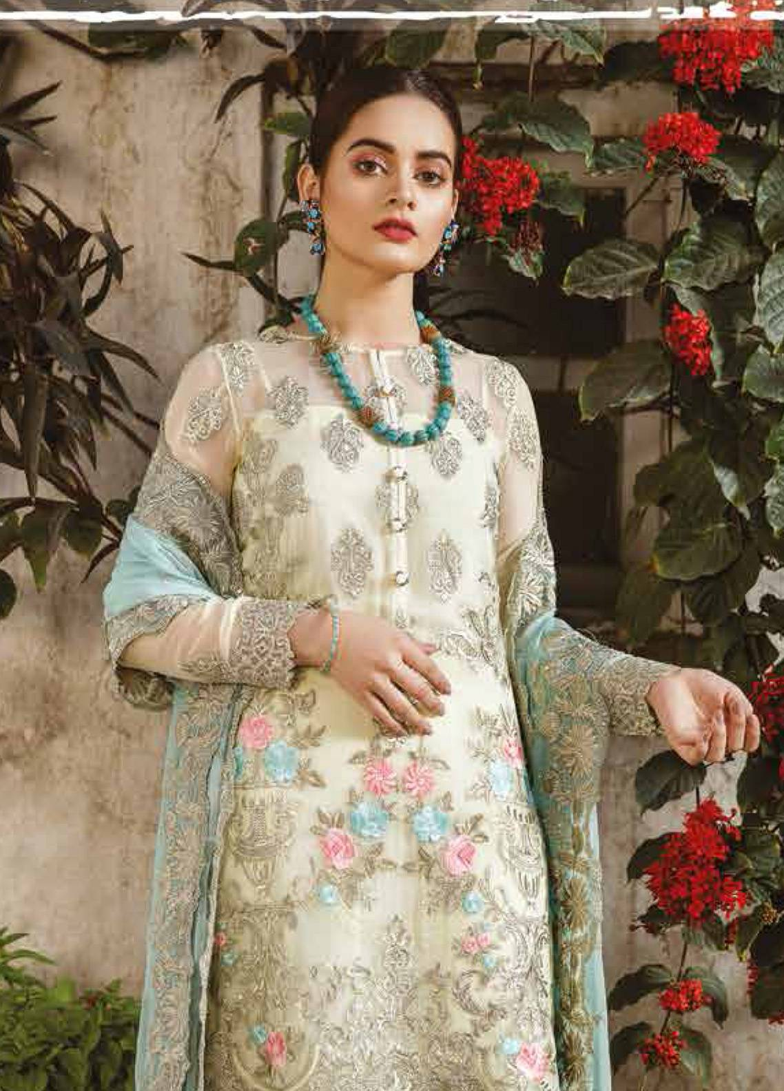 Imrozia by Serene Embroidered Chiffon Unstitched 3 Piece Suit SEI19E 707 THE MINTY MARSHMALLOW - Luxury Collection
