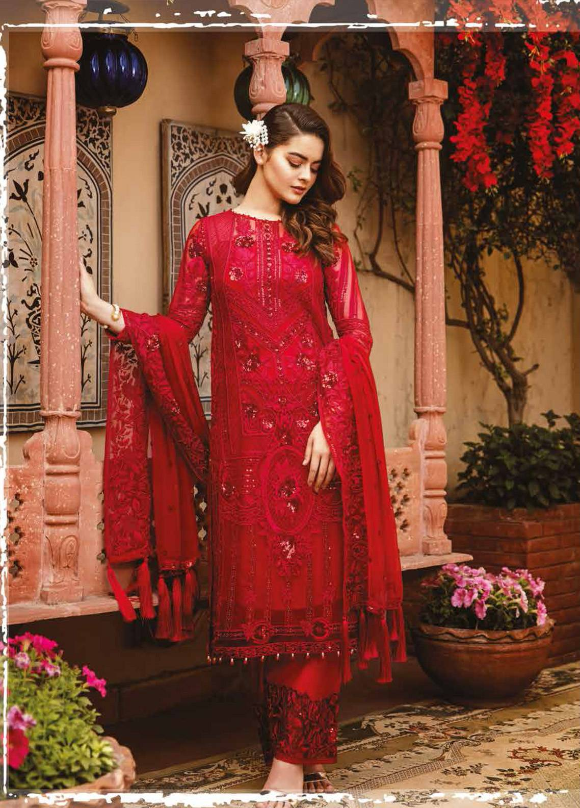 Imrozia by Serene Embroidered Chiffon Unstitched 3 Piece Suit SEI19E 709 THE HEARTTHROB RED - Luxury Collection