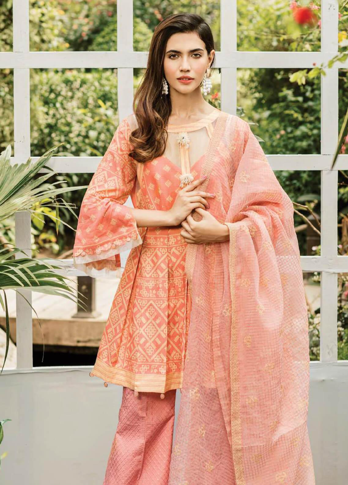 Serene Premium Embroidered Lawn Unstitched 3 Piece Suit SPM19L 02 PEACHY BREEZE - Spring / Summer Collection
