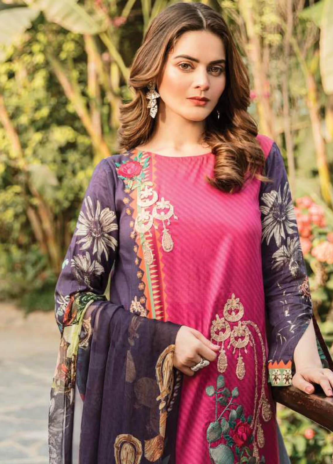 Serene Premium Embroidered Lawn Unstitched 3 Piece Suit SPM19L 03 RUBY ROYALE - Spring / Summer Collection