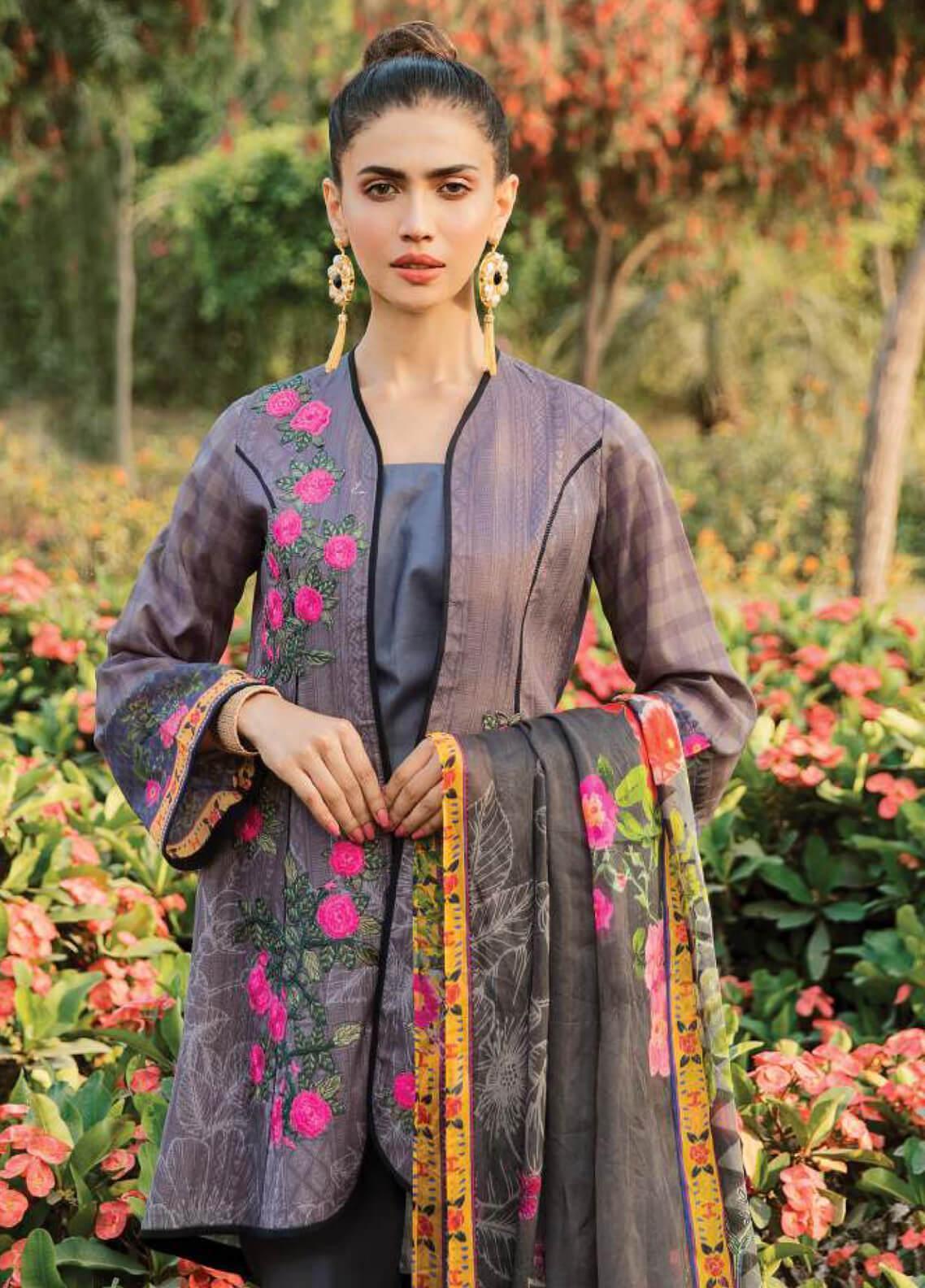 Serene Premium Embroidered Lawn Unstitched 3 Piece Suit SPM19L 06 DEWDROP LAVENDER - Spring / Summer Collection