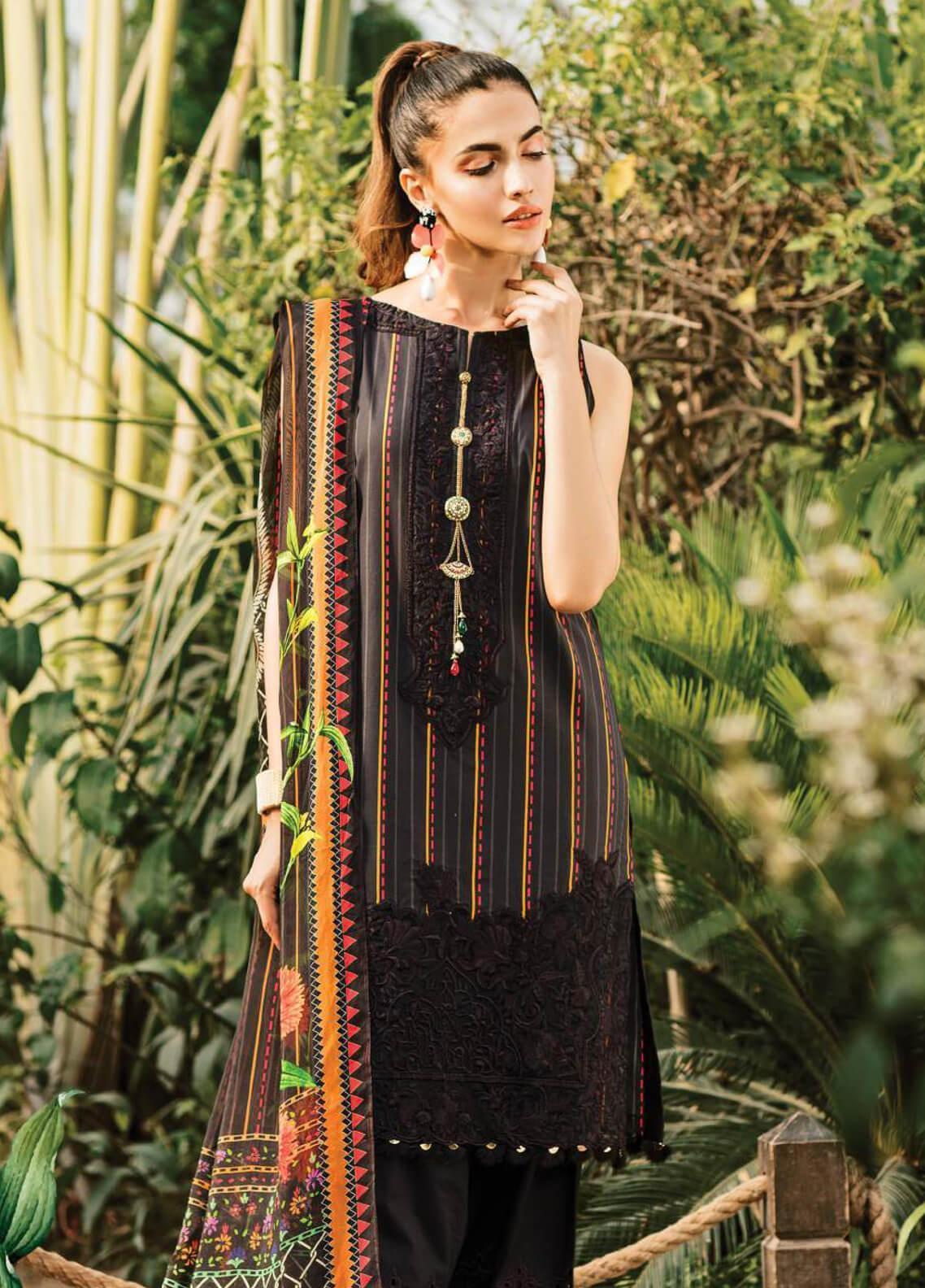 Serene Premium Embroidered Lawn Unstitched 3 Piece Suit SPM19L 10 RASTAFARI DARK - Spring / Summer Collection