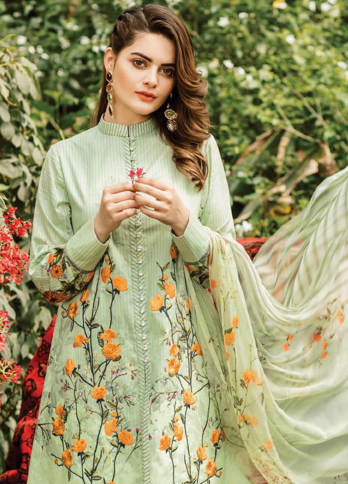 Serene Premium Embroidered Lawn Unstitched 3 Piece Suit SPM19L 11 PISTA TULIPS - Spring / Summer Collection