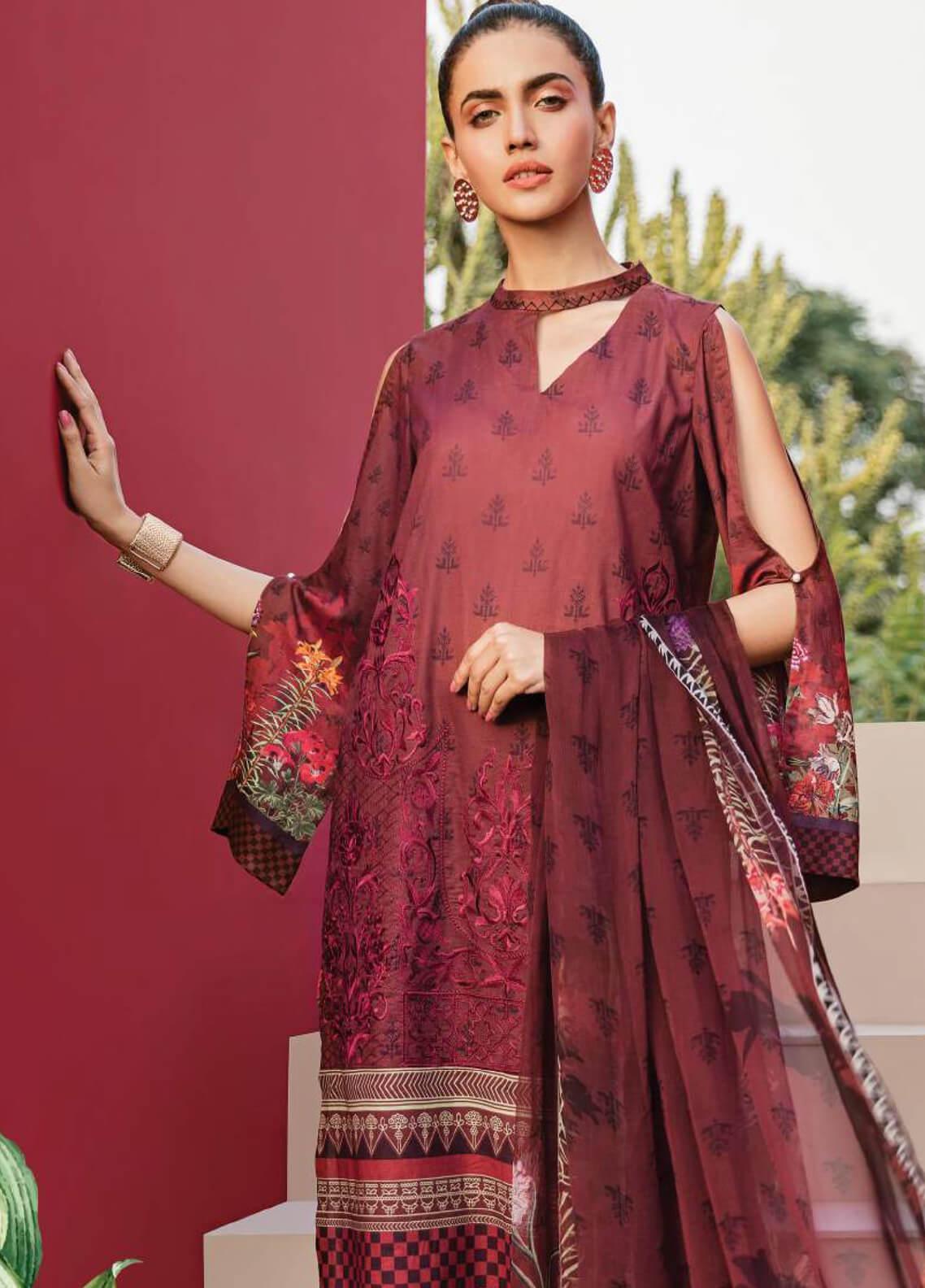 Serene Premium Embroidered Lawn Unstitched 3 Piece Suit SPM19L 12 REGAL MAGNA - Spring / Summer Collection