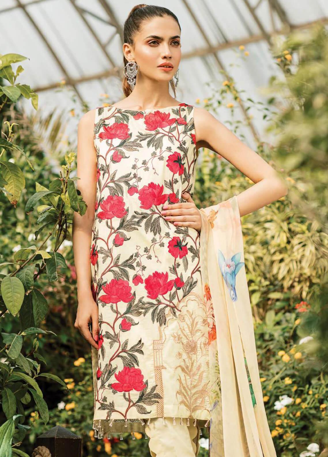 Serene Premium Embroidered Lawn Unstitched 3 Piece Suit SPM19L 14 ROSITA SENORITA - Spring / Summer Collection