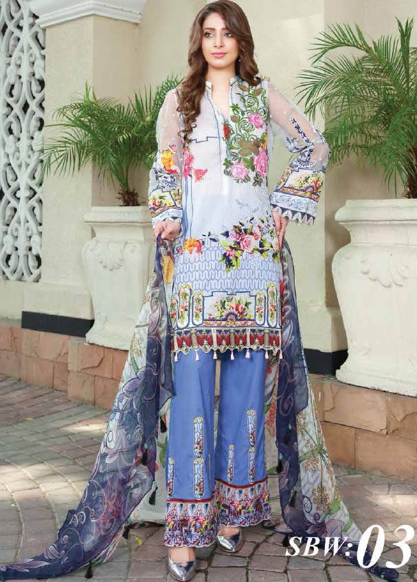 Sifona Embroidered Lawn Unstitched 3 Piece Suit SF17B 03