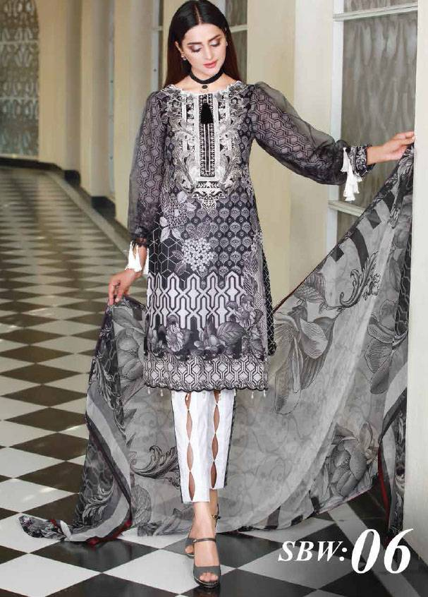 Sifona Embroidered Lawn Unstitched 3 Piece Suit SF17B 06