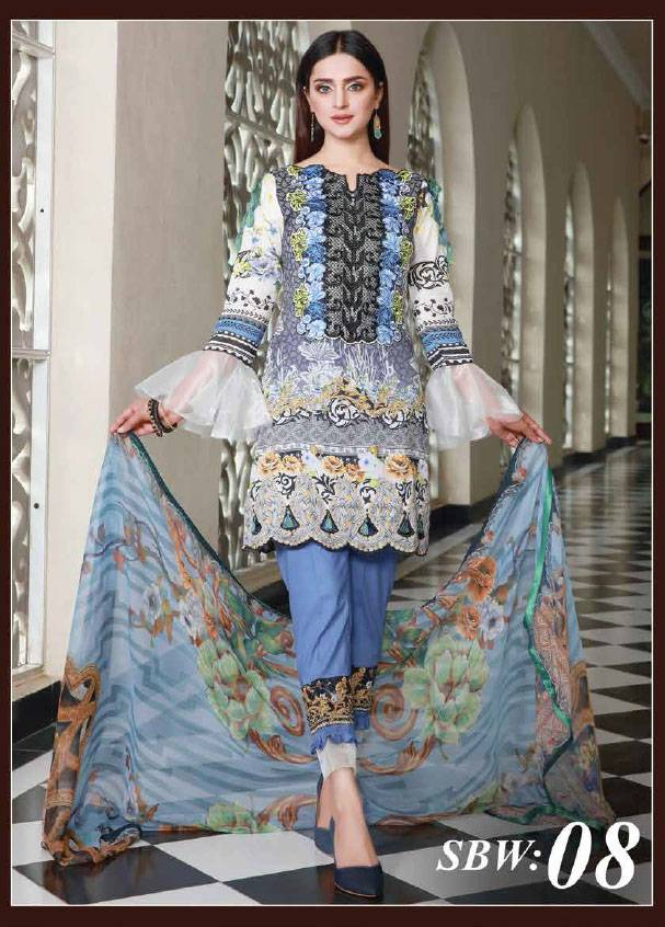 Sifona Embroidered Lawn Unstitched 3 Piece Suit SF17B 08