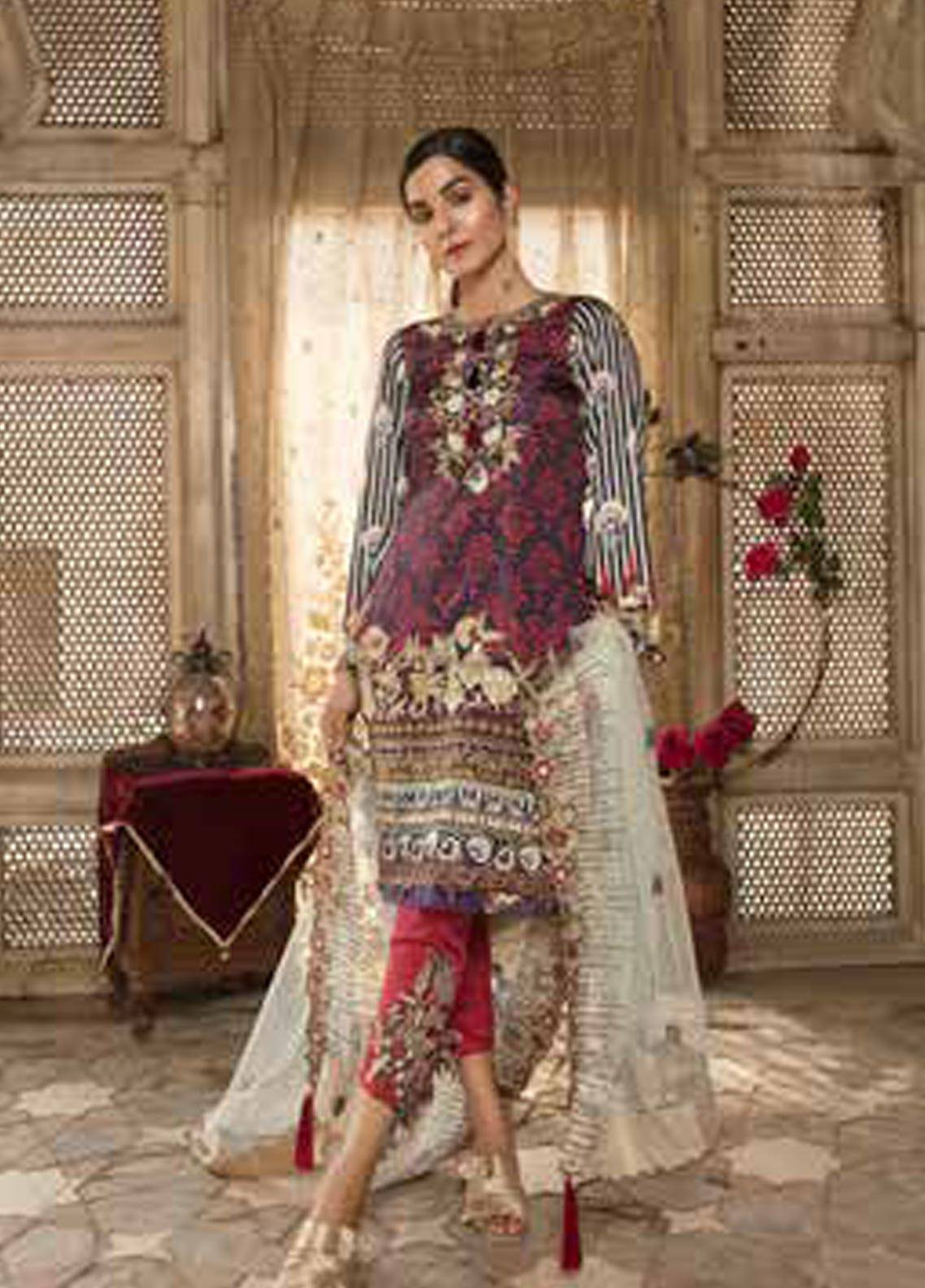 Sifona Embroidered Charmeuse Unstitched 3 Piece Suit SFA18-L2 04 - Luxury Collection