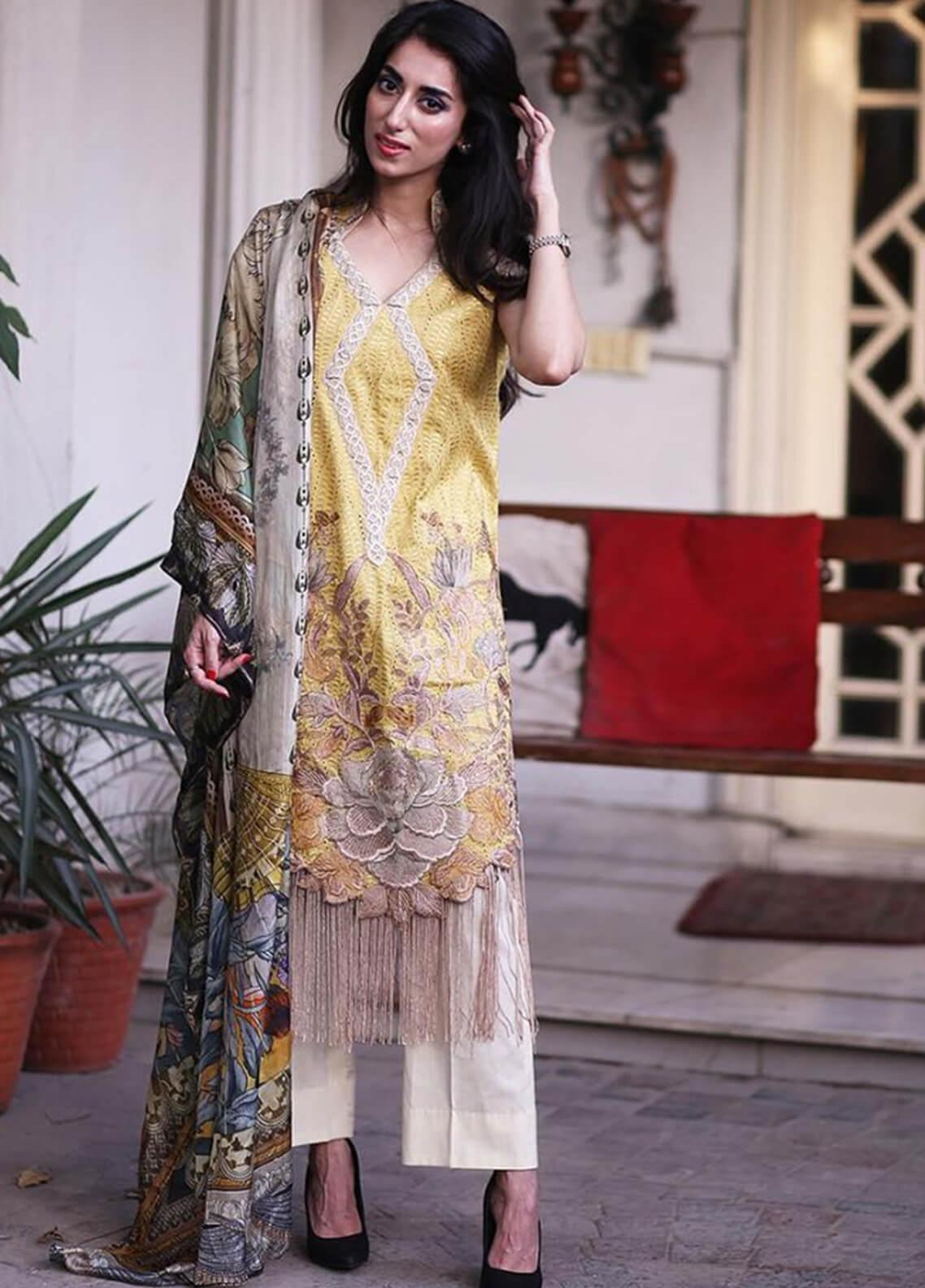 Shiza Hassan Embroidered Lawn Unstitched 3 Piece Suit SH19L 12A HONEY SUCKLE - Spring / Summer Collection