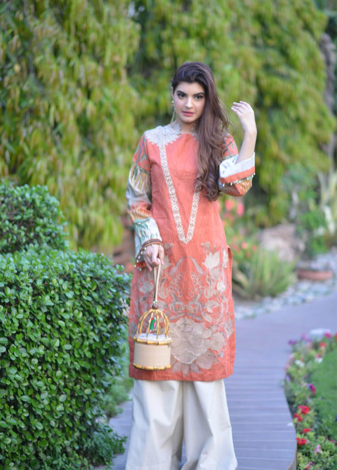 Shiza Hassan Embroidered Lawn Unstitched 3 Piece Suit SH19L 12B HONEY SUCKLE - Spring / Summer Collection
