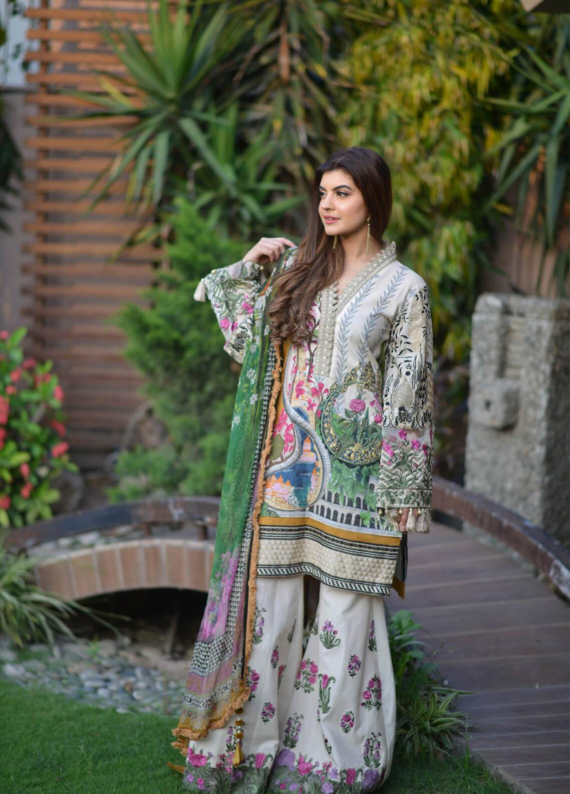 Shiza Hassan Embroidered Lawn Unstitched 3 Piece Suit SH19L 8B SUNKISSED - Spring / Summer Collection