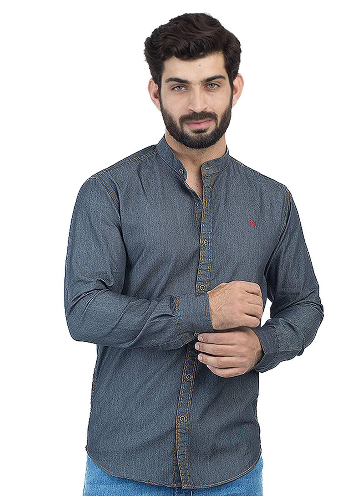 Shahzeb Saeed Denim Casual Men Shirts - Dark Grey CSW-129