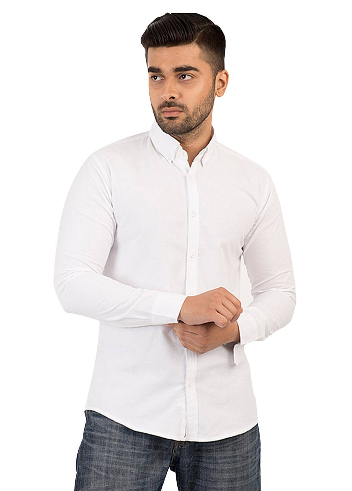 Shahzeb Saeed Cotton Casual Men Shirts - White CSW-135