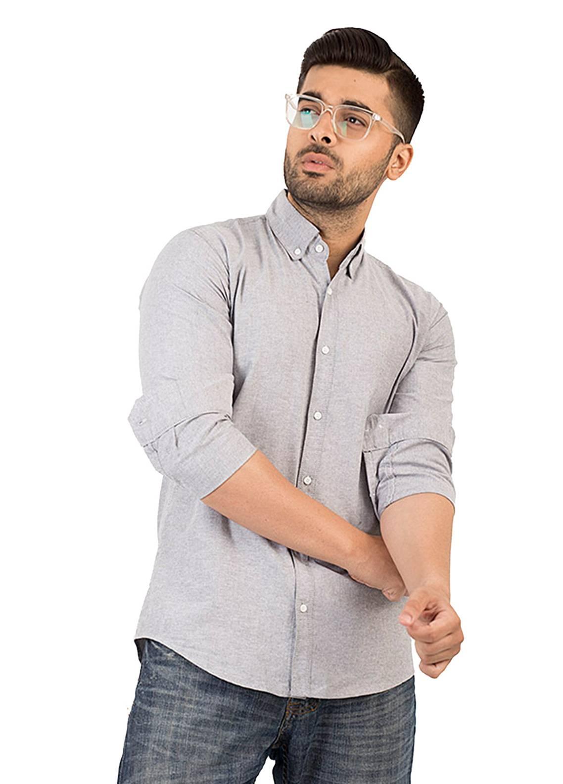 Shahzeb Saeed Cotton Casual Men Shirts - Grey CSW-137