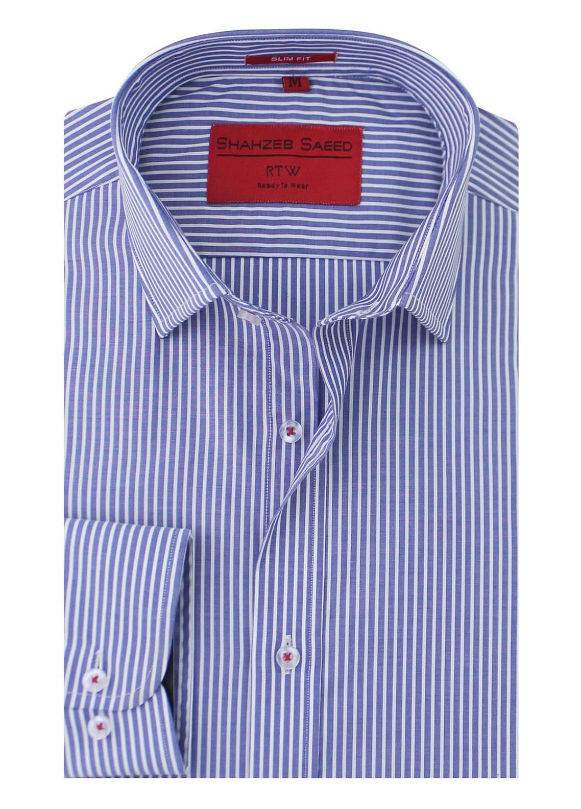 Shahzeb Saeed Cotton Formal Men Shirts - Blue RTW-1333