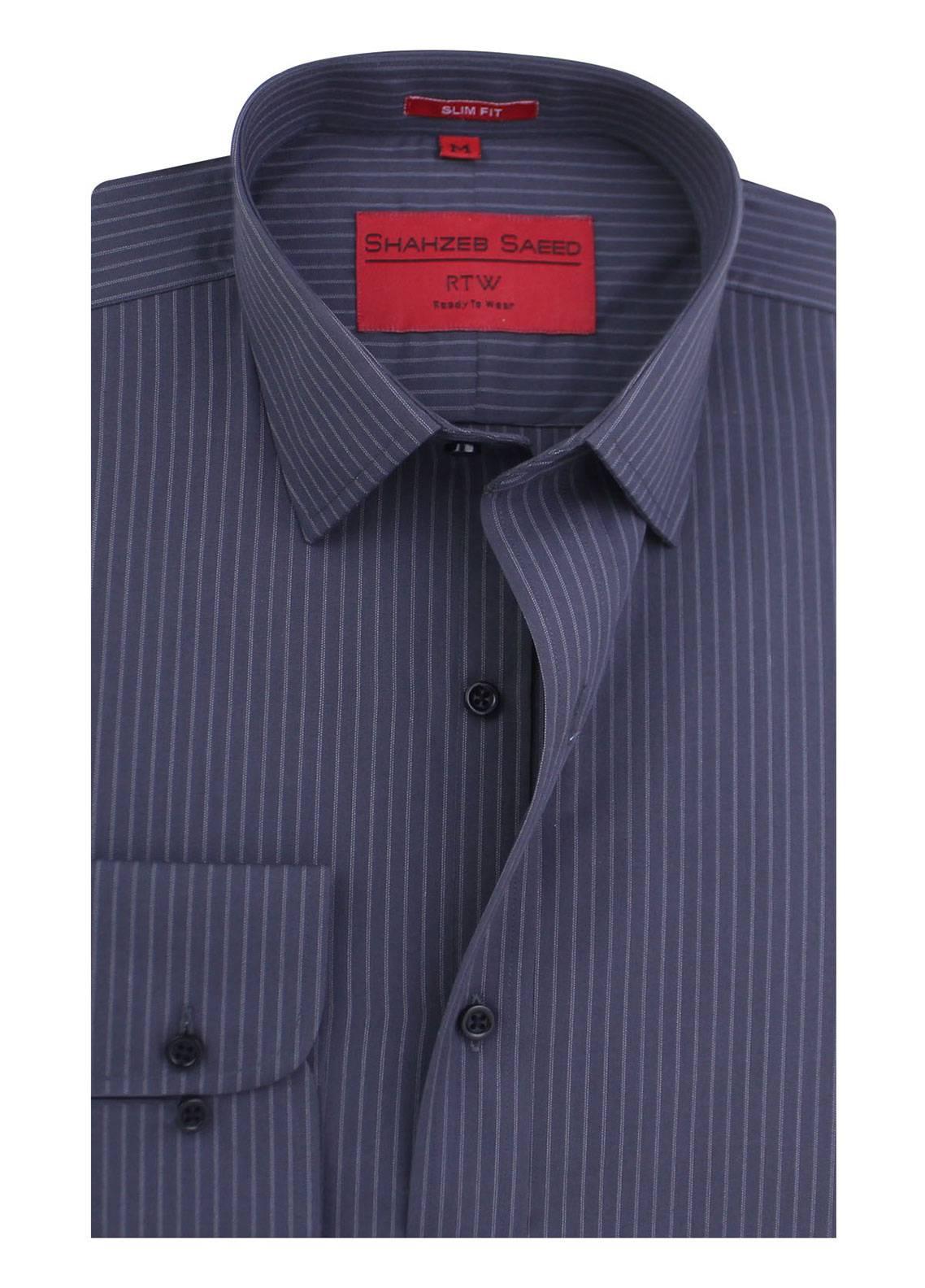 Shahzeb Saeed Cotton Formal Men Shirts - Grey RTW-1341