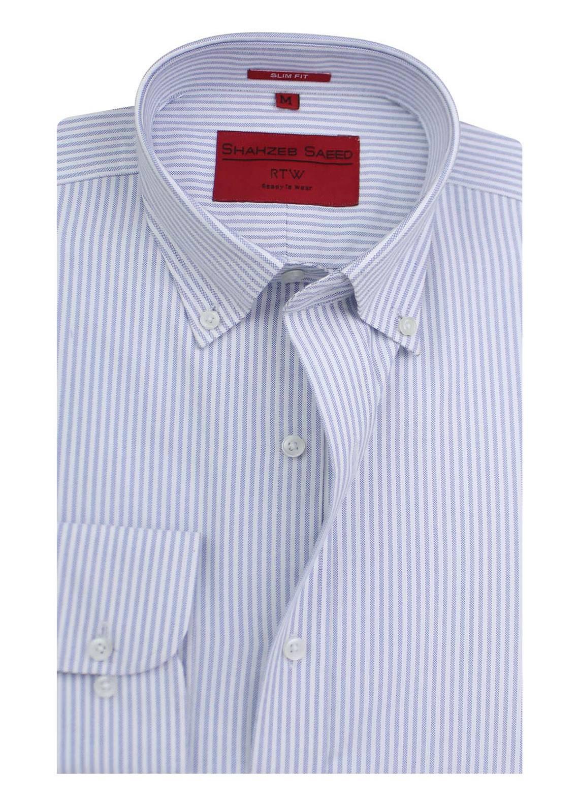 Shahzeb Saeed Cotton Formal Shirts for Men - Blue RTW-1345